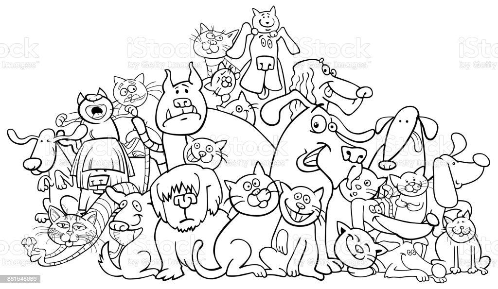 Karikatür Köpek Ve Kedi Boyama Kitabı Stok Vektör Sanatı Animasyon