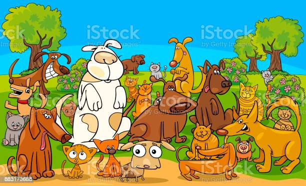 Cartoon dog and cats comic characters group vector id883173688?b=1&k=6&m=883173688&s=612x612&h=xp0desrvktv5wco9ynhlc gmuq5shd7jmhsdpssckvk=