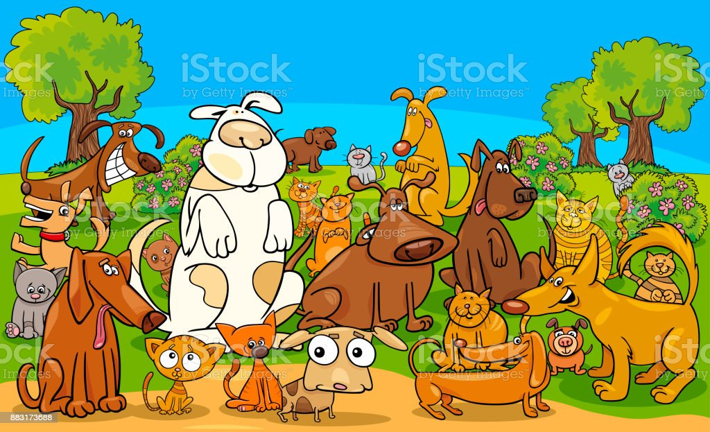 cartoon dog and cats comic characters group vector art illustration