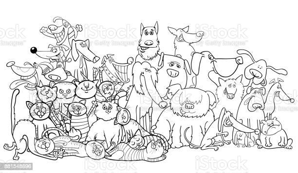 Cartoon dog and cats group coloring book vector id881548696?b=1&k=6&m=881548696&s=612x612&h=0e7r1vivezlwmfquzwnliqonpcl8hv3wssleuwuks9u=