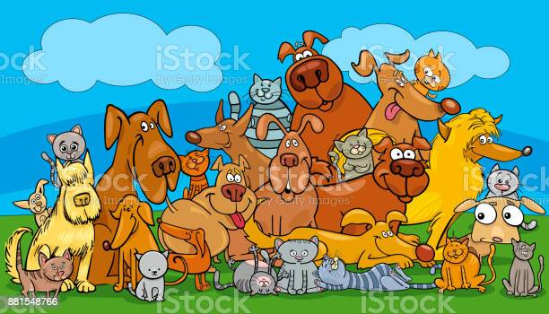 Cartoon dog and cats pet characters group vector id881548766?b=1&k=6&m=881548766&s=612x612&h=k4omixxhrqbzptli3ca4j6ae00ad2yutk4 ifrblede=