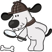 vector drawing of a dog with magnifying glass inspected a bone