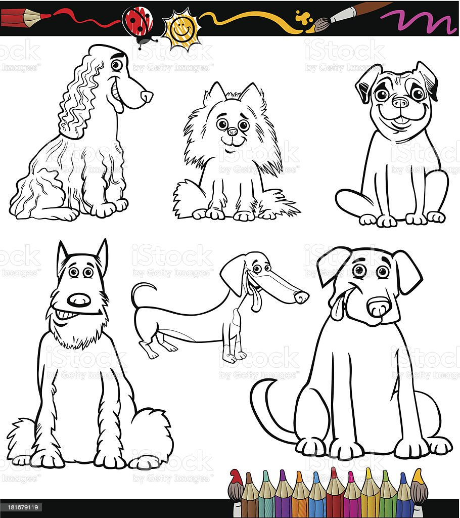 Cartoon Dog Breeds Coloring Page royalty-free stock vector art