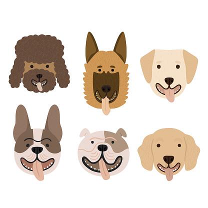 Cartoon dog breeds portraits collection set vector