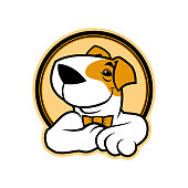 Round vector emblem of cartoon smiling dog character in bow tie
