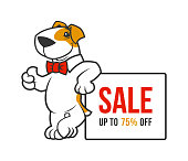 Cartoon smiling dog character in bow tie standing near the ad banner and showing thumb up