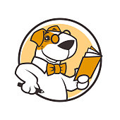 Round vector emblem of cartoon smiling dog character in a bow tie and glasses holding pencil and open book