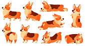 Cartoon dog character. Sleeping corgi dogs poses, pedigree dog fitness sport exercise and relaxing pet yoga pose. Corgi puppy doggy sitting or domestic pets emotion isolated vector icons set