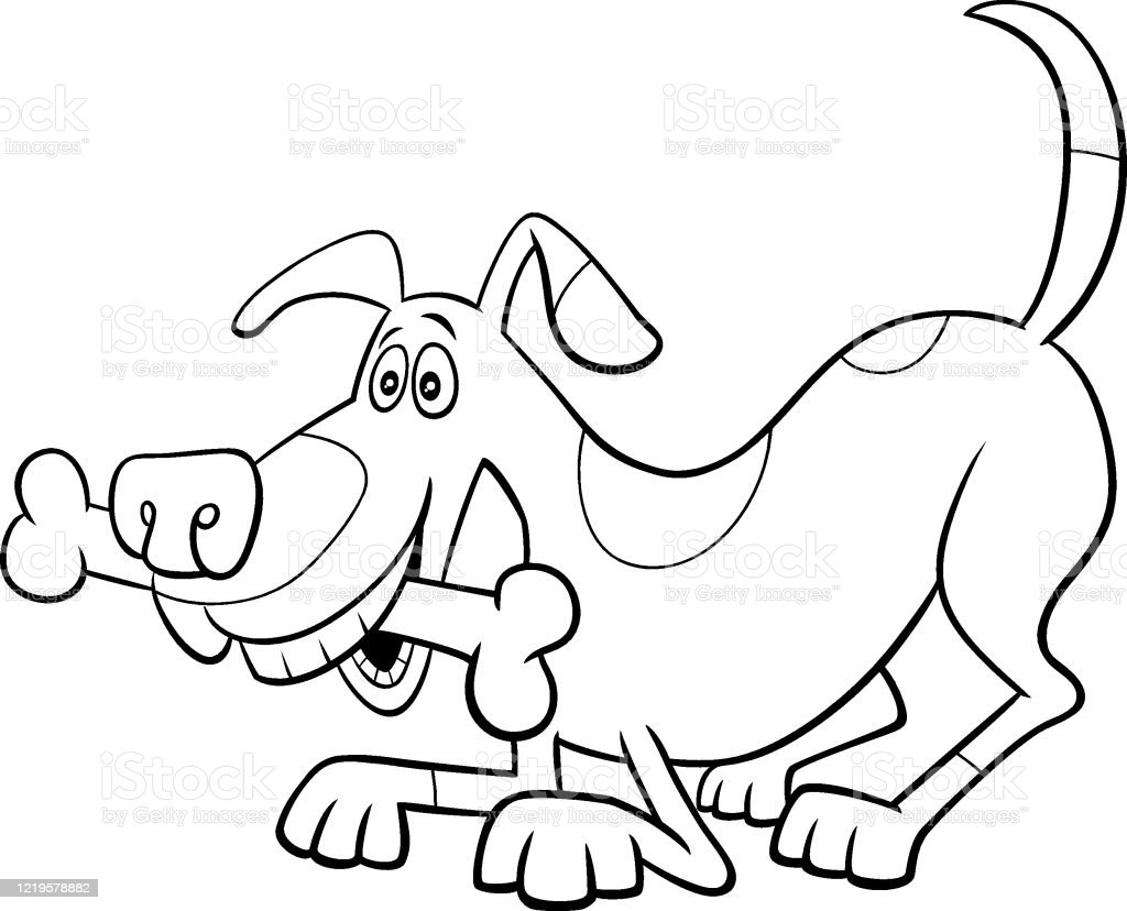 Cartoon Dog Character With Bone Color Book Page Stock Illustration Download Image Now Istock