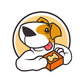 Round icon with cartoon dog character holding a box with bone in his paws