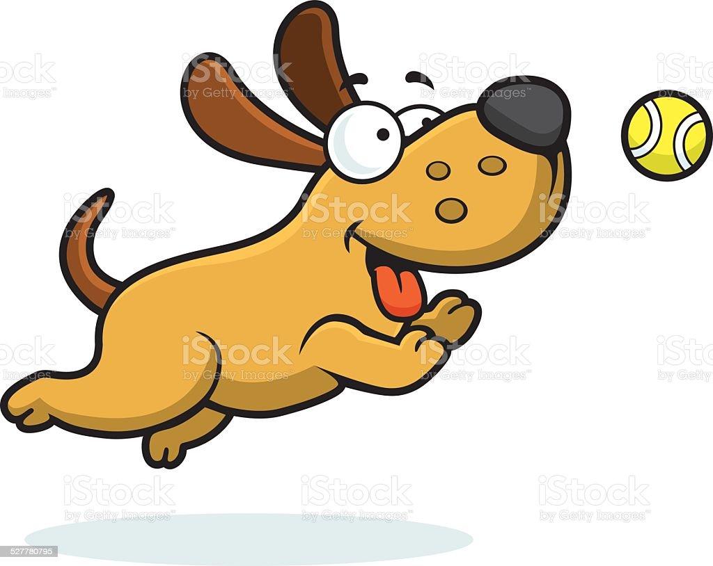 Ilustración De Dibujos Animados De Perro Atrapar Pelota Y