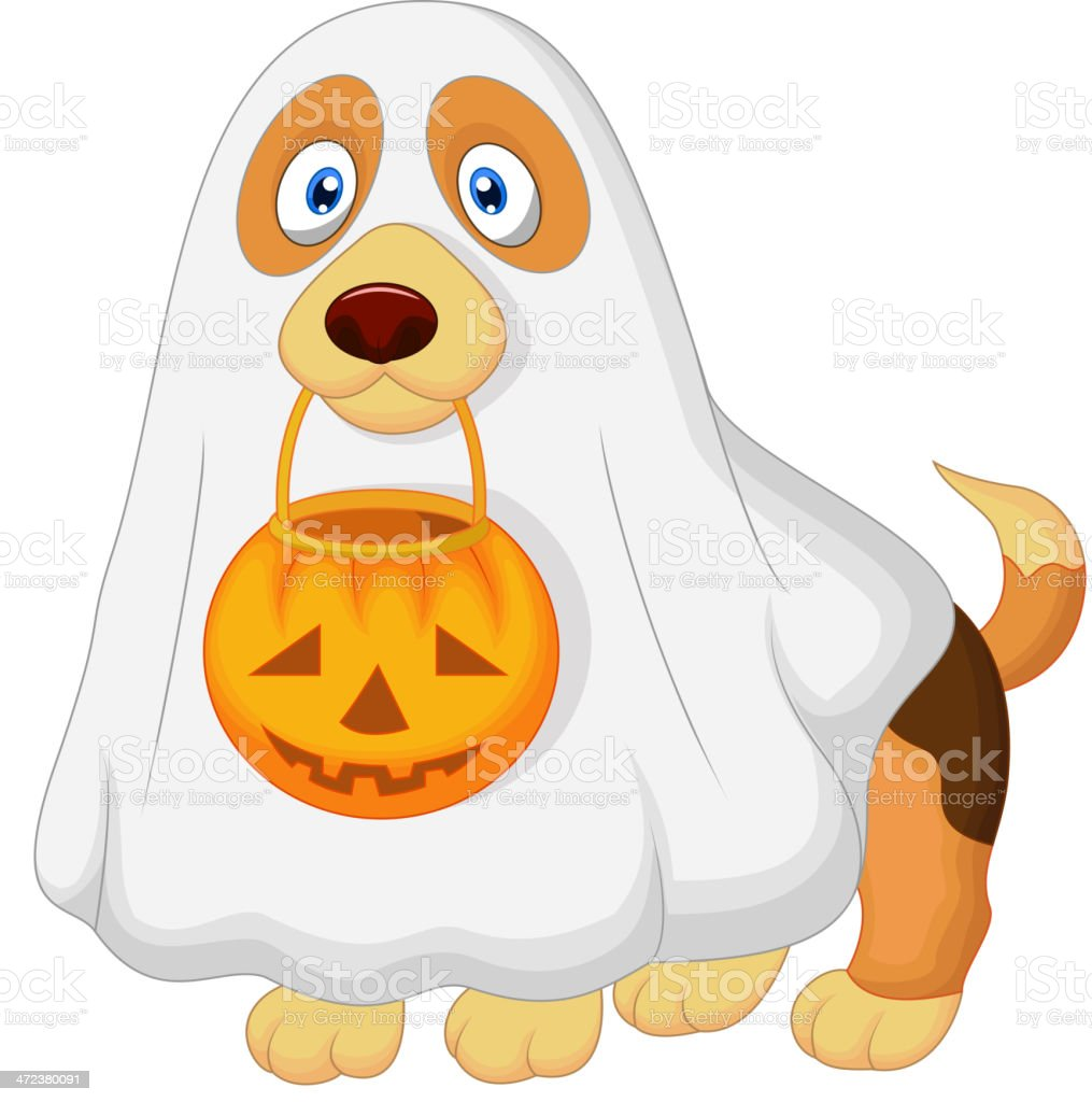 Cartoon Dog Dressed Up As A Spooky Ghost Vector Art Illustration