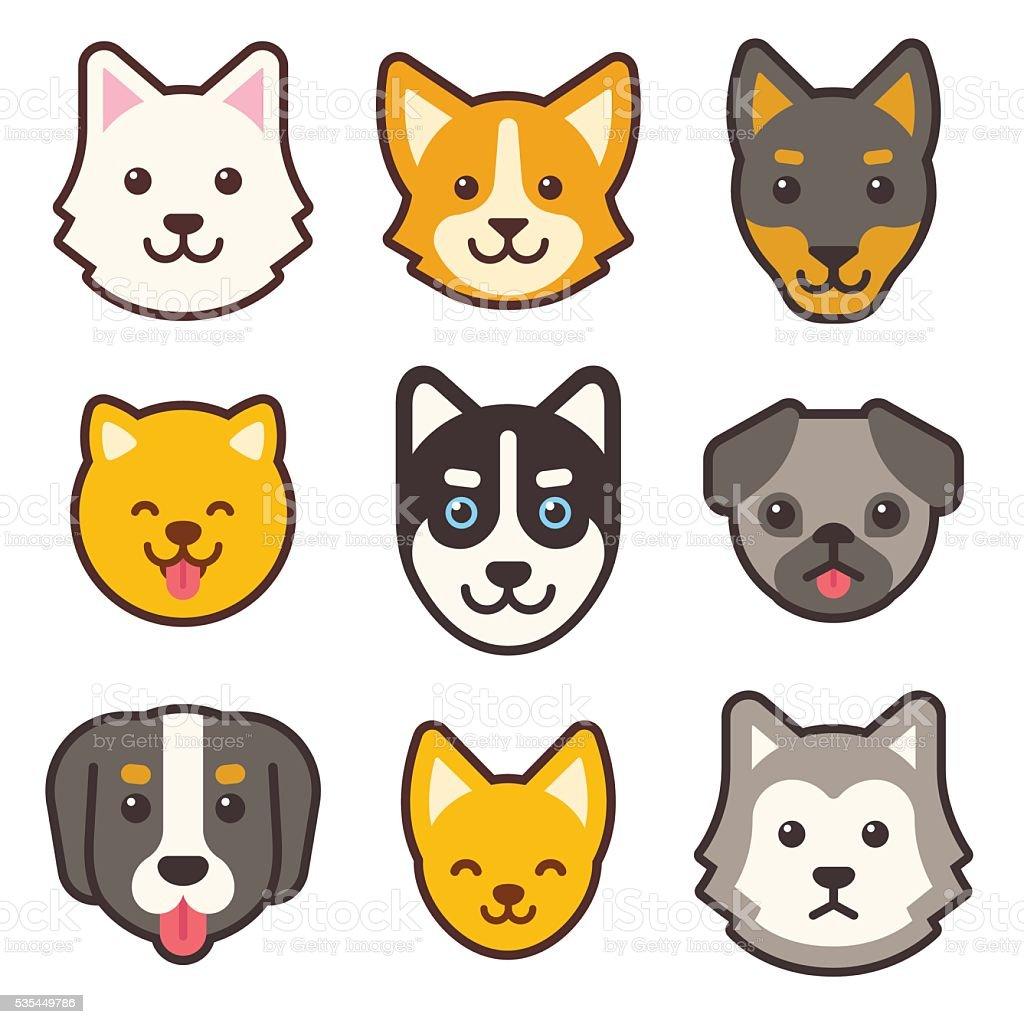 Ilustración De Perro De Dibujos Animados De Caras Y Más Banco De
