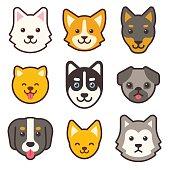 Cartoon dog faces set