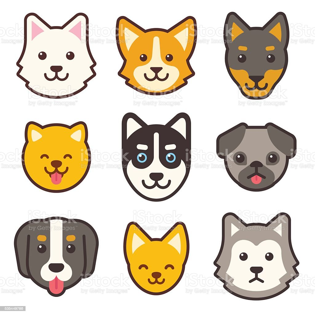 Cartoon dog faces set vector art illustration