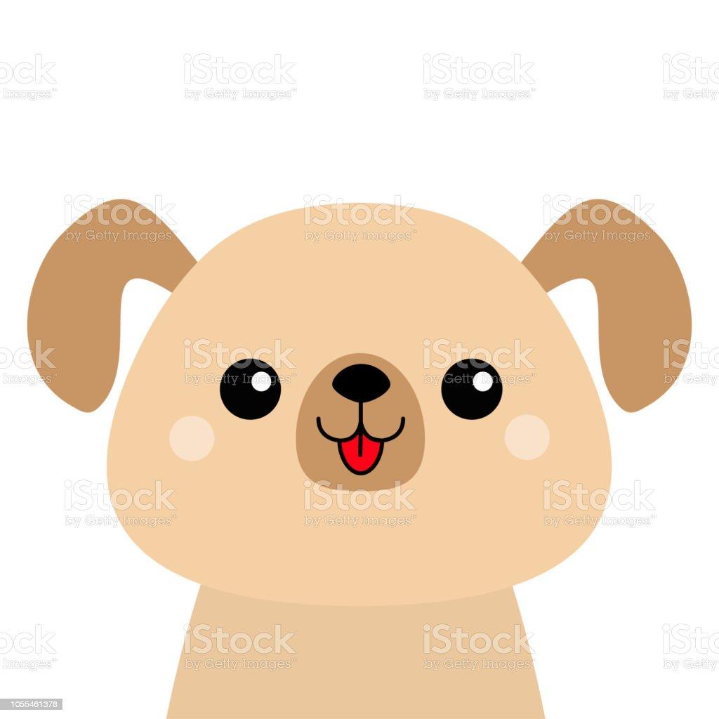 Ilustración De Silueta De Cara Feliz Cabeza De Perro De Dibujos