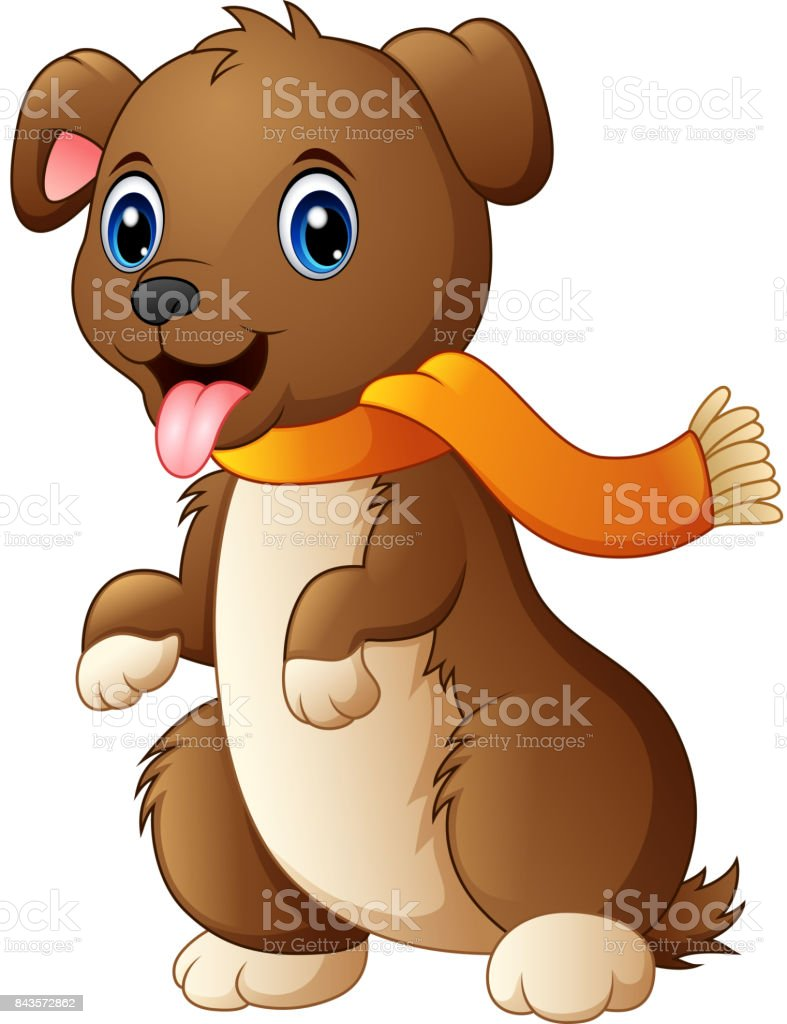 Cartoon dog in a scarf with tongue out vector art illustration