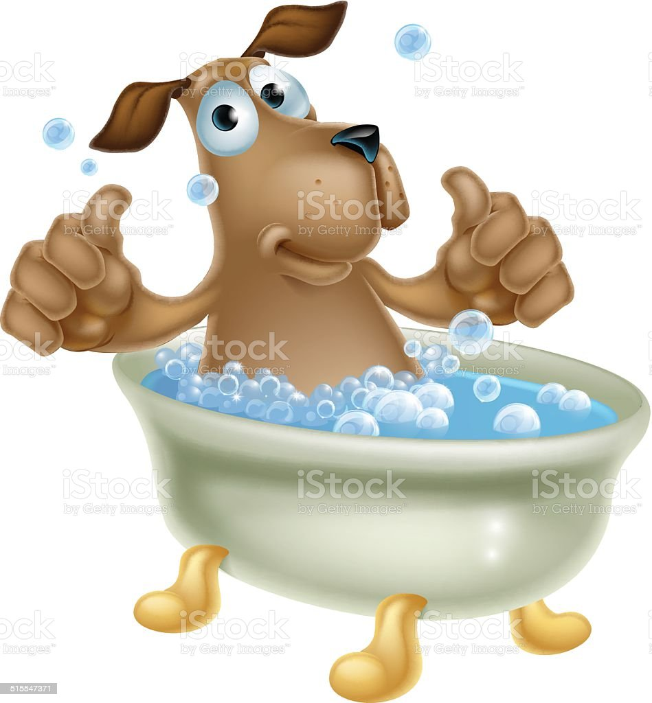 Ilustración de Perro De Historieta En Baño De Burbujas y más banco ...