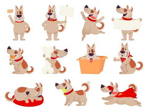 Cartoon dog mascot. Cute dogs in different action and emotion, happy smile friendly behavior pet, character funny avatar vector set