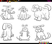 Black and White Cartoon Illustration of Comic Dogs or Puppies Animal Characters Set Coloring Book