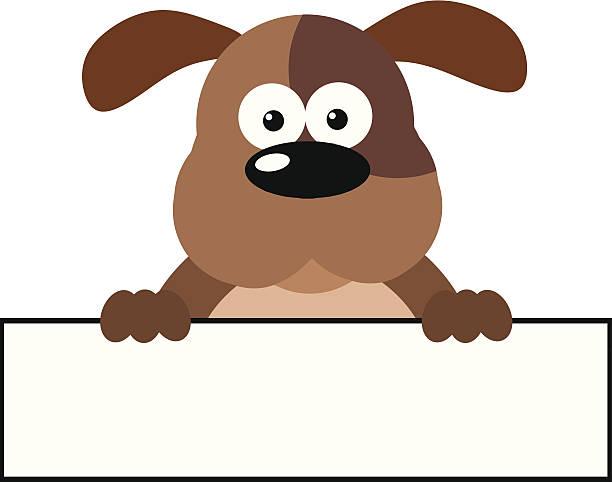말풍선이 있는 경견 통해 배너입니다 - 강아지 실루엣 stock illustrations