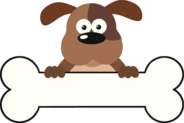 말풍선이 있는 경견 통해 뼈다귀 배너입니다 - 강아지 실루엣 stock illustrations