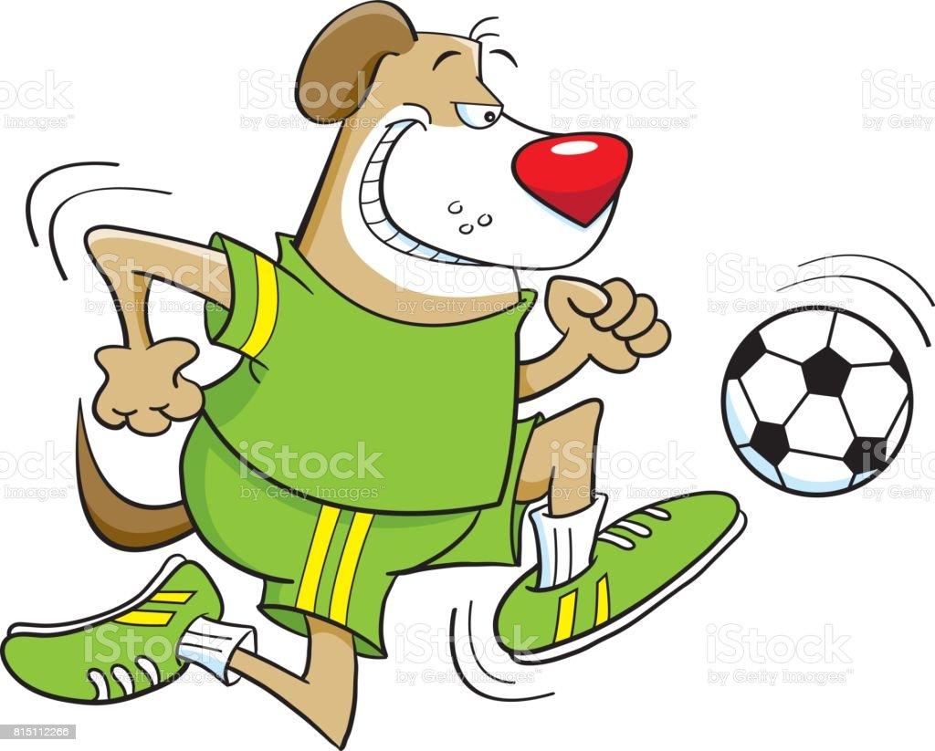 cartoon dog playing soccer royalty free stock vector art