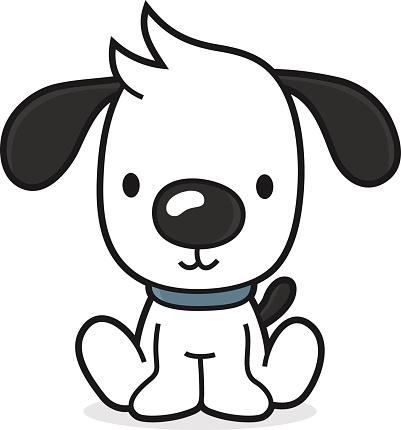 Cartoon Dog Puppy Sitting On The Floor Stock Illustration ...