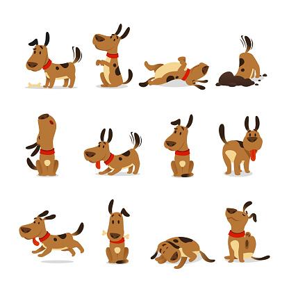 Cartoon dog set. Dogs tricks and action digging dirt eating pet food jumping sleeping running and barking vector illustration