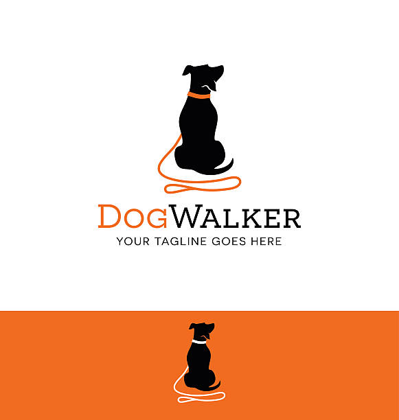 cartoon dog silhouette with red leash icon for creative use - ilustración de arte vectorial