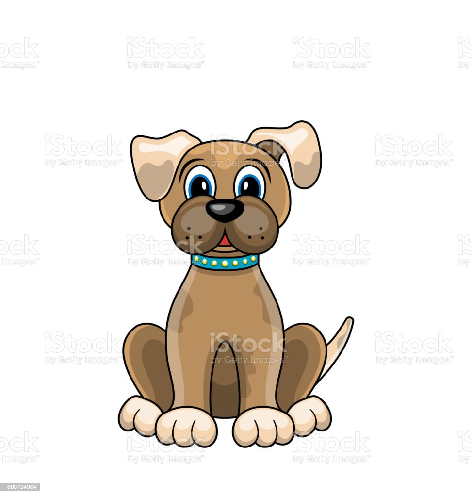 Cartoon Dog Sitting In Collar Isolated On White Background Stock
