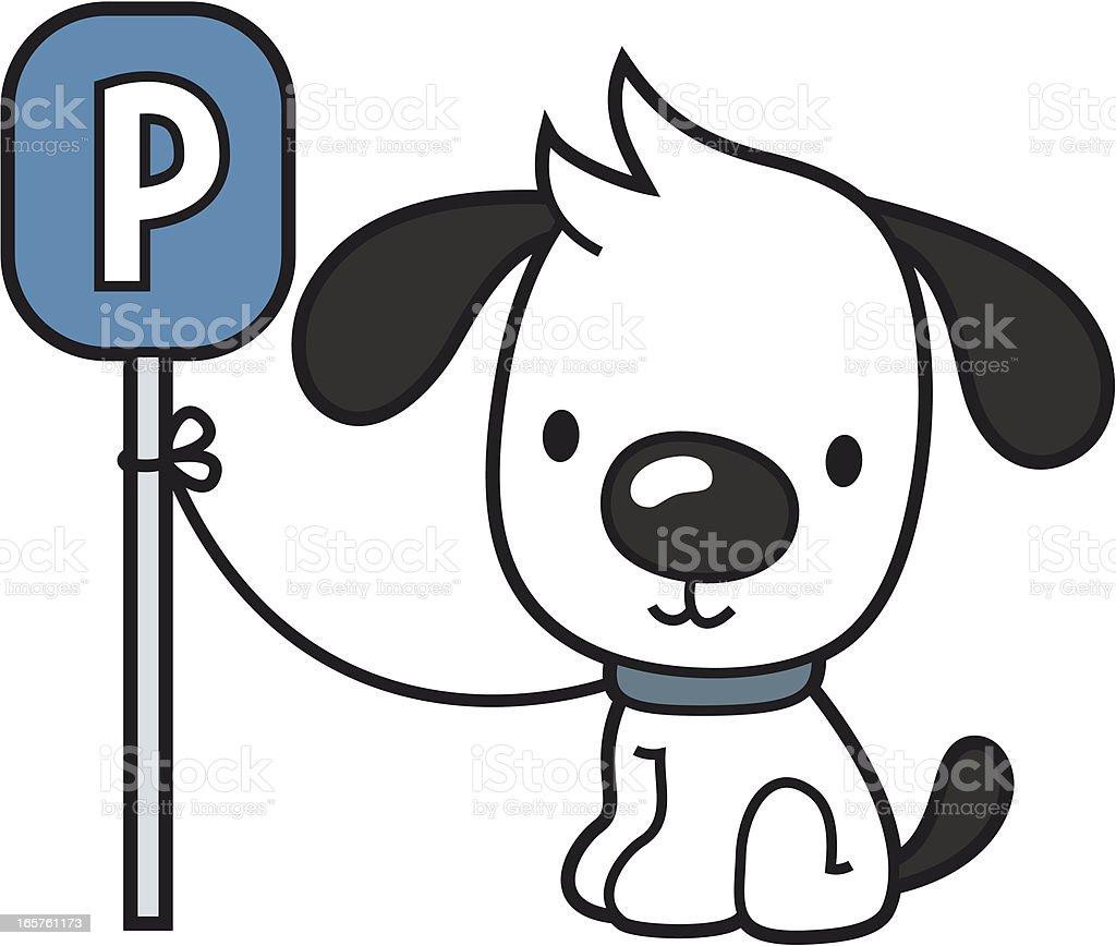 cartoon dog waits outside at parking sign royalty-free stock vector art