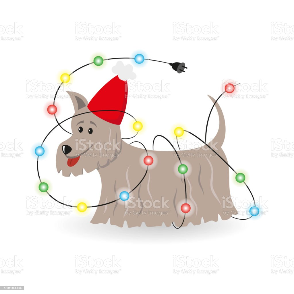 Cartoon Dog With Christmas Garland On The White Background Stock