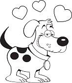 Cartoon dog with hearts.