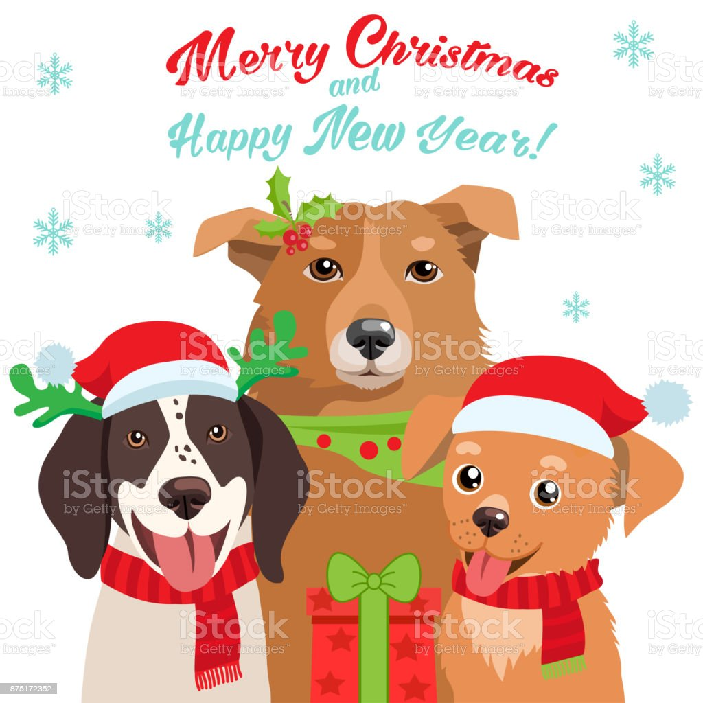 Cartoon Dog With Santa Hat And Christmas Text Vector Card For Your ...
