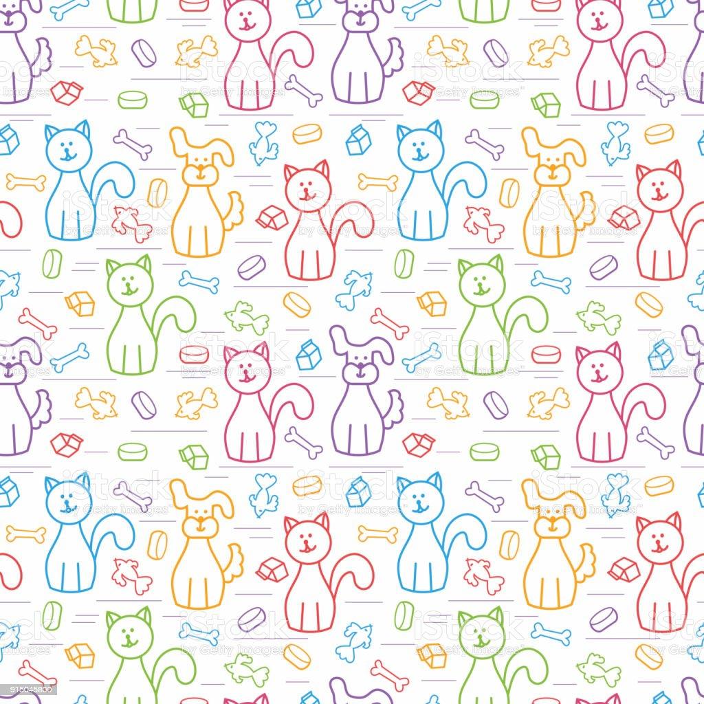 60f553c02e163 Dibujos animados de perros y gatos. Patrón transparente de vector. Colores  de fondo para