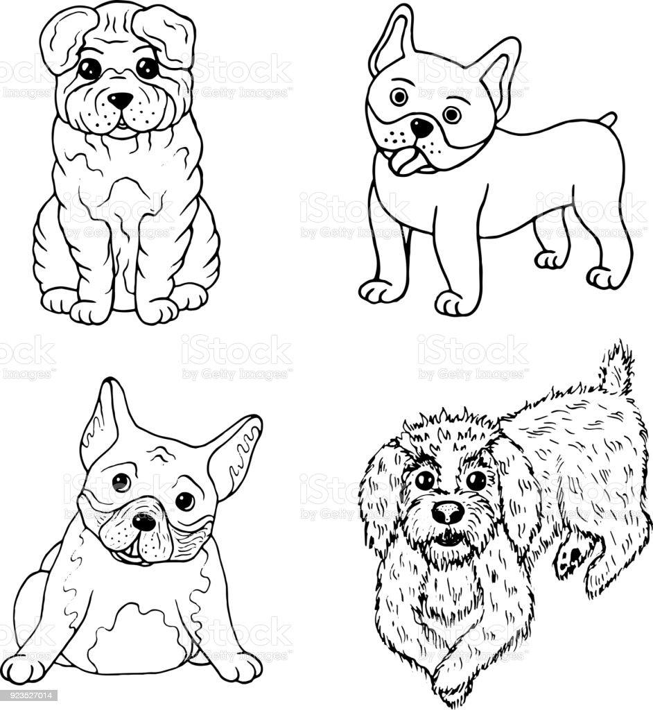 Ilustración de Página Para Colorear De Perros De Dibujos Animados ...