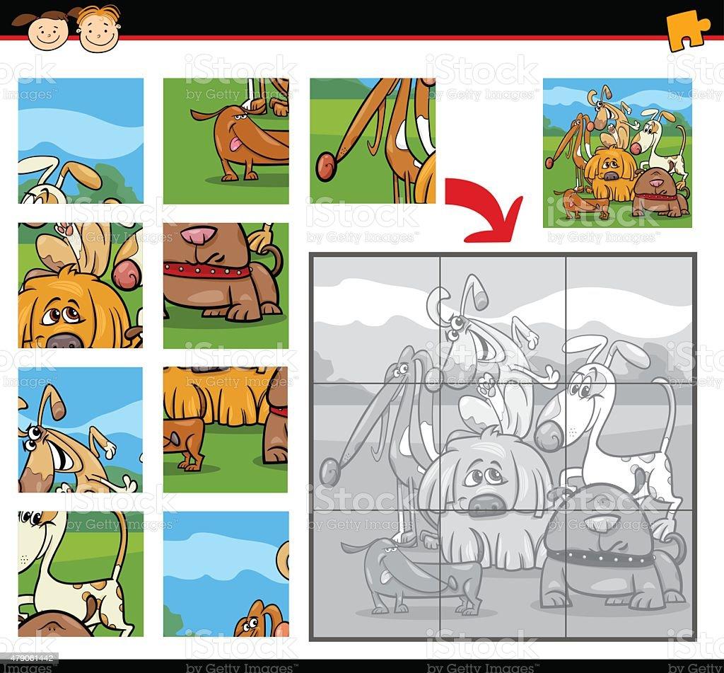 カットイラスト犬のジグソーパズルゲーム - 2015年のベクターアート素材