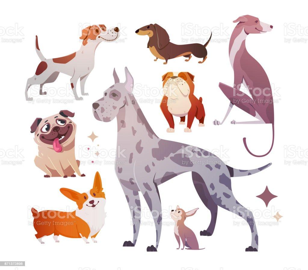 Ilustración De Dibujos Animados De Perros De Distintas Razas Y