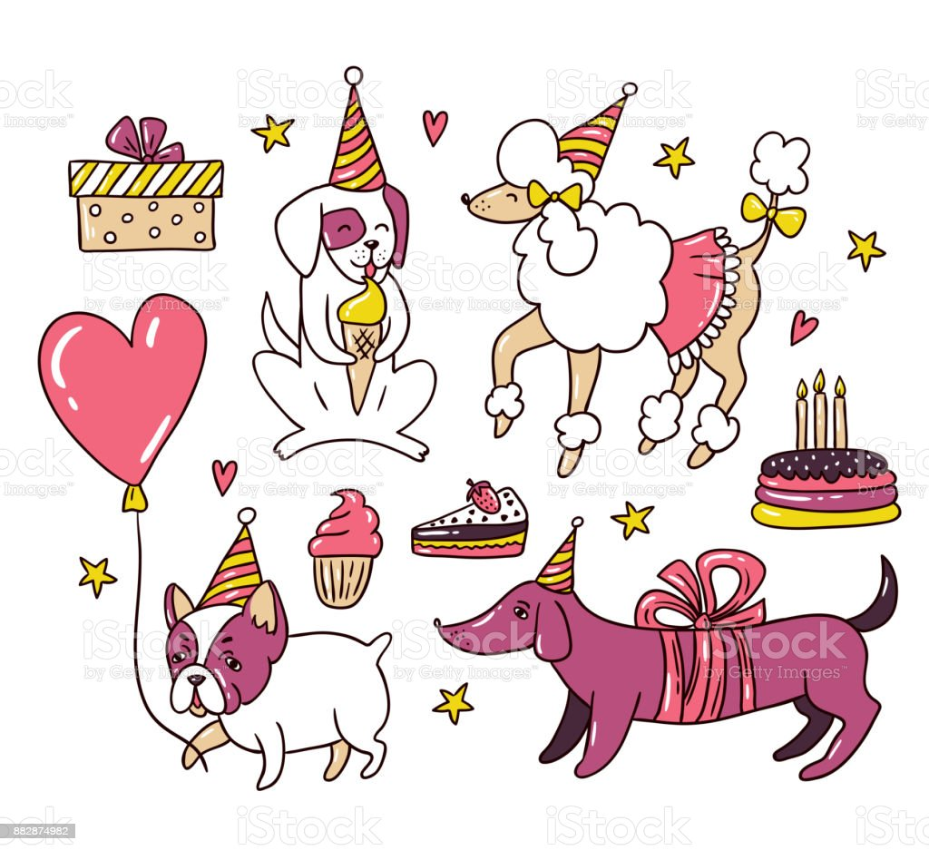 Cartoon Dogs On The Birthday Party Or New Year Vector Illustration ...