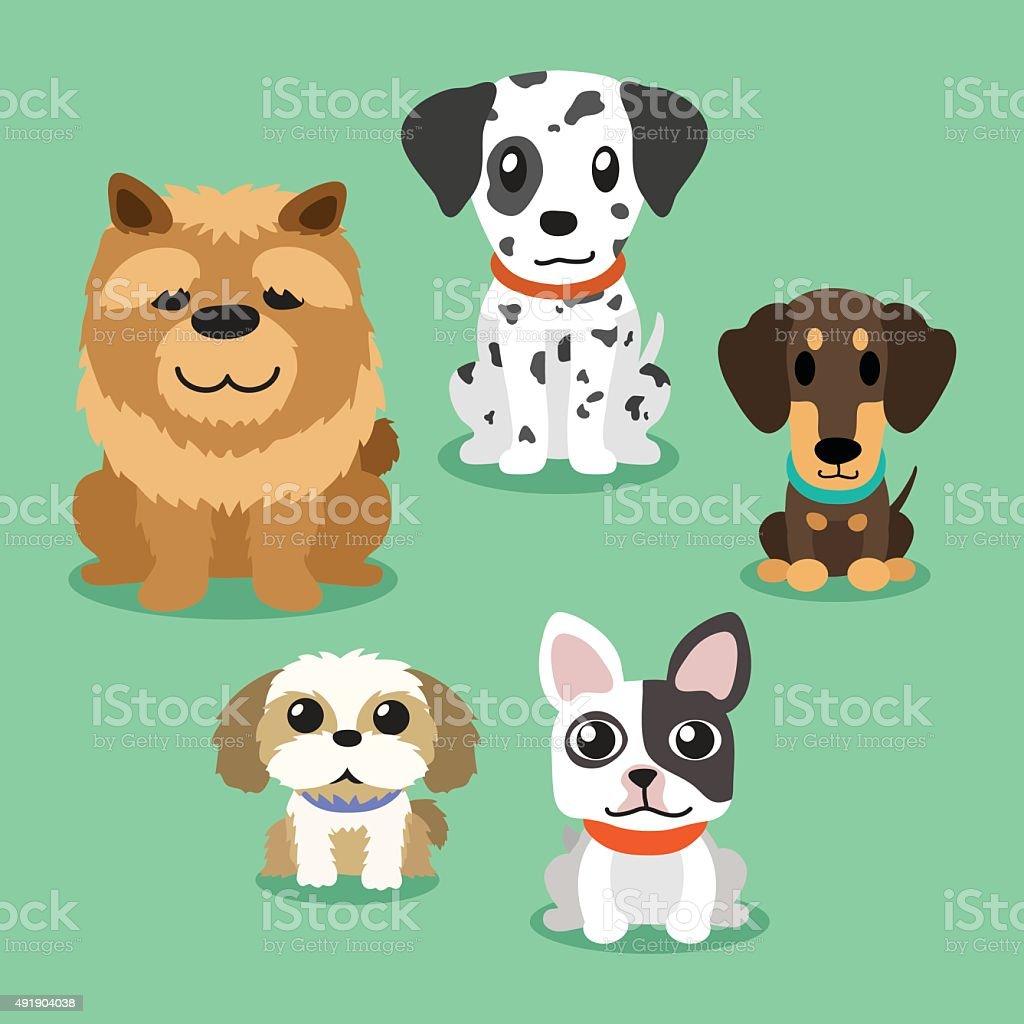 Cartoon dogs standing vector art illustration