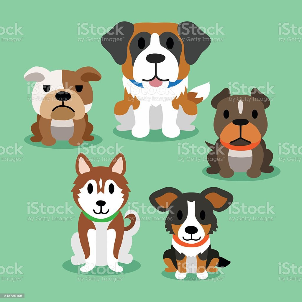 Cartoon dogs vector art illustration