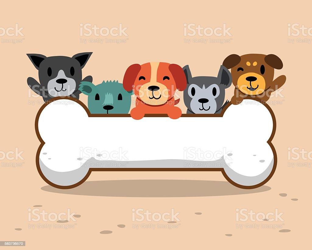 Cartoon dogs with big bone for design.