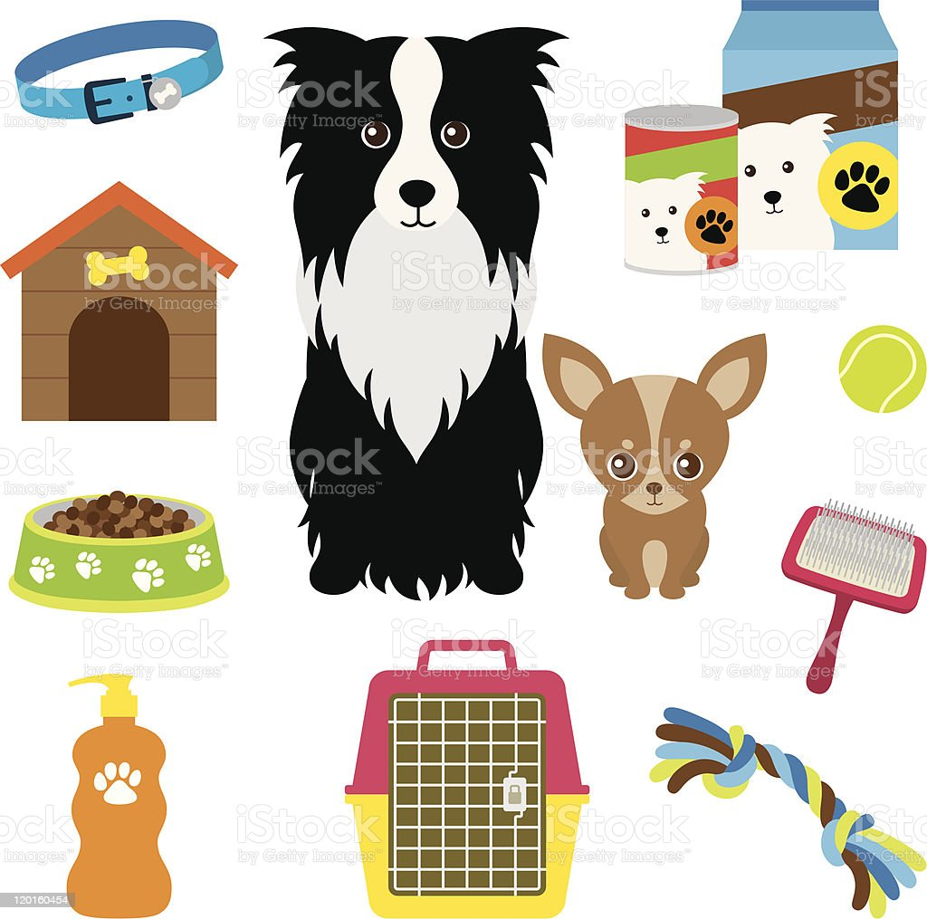 Cartoon dogs with food, toys and supplies royalty-free stock vector art