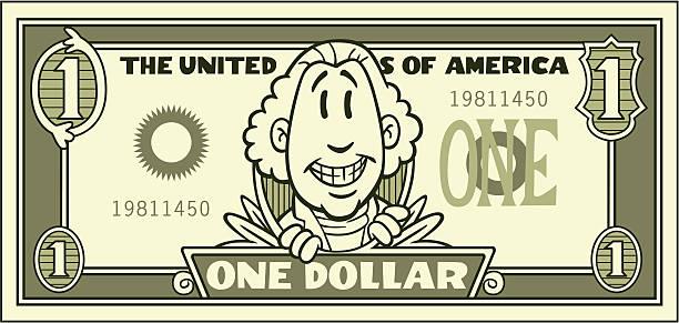 Cartoon Dollar Bill vector art illustration