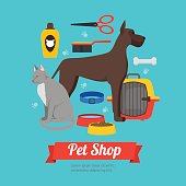 Cartoon Domestic Pet Shop Banner. Vector
