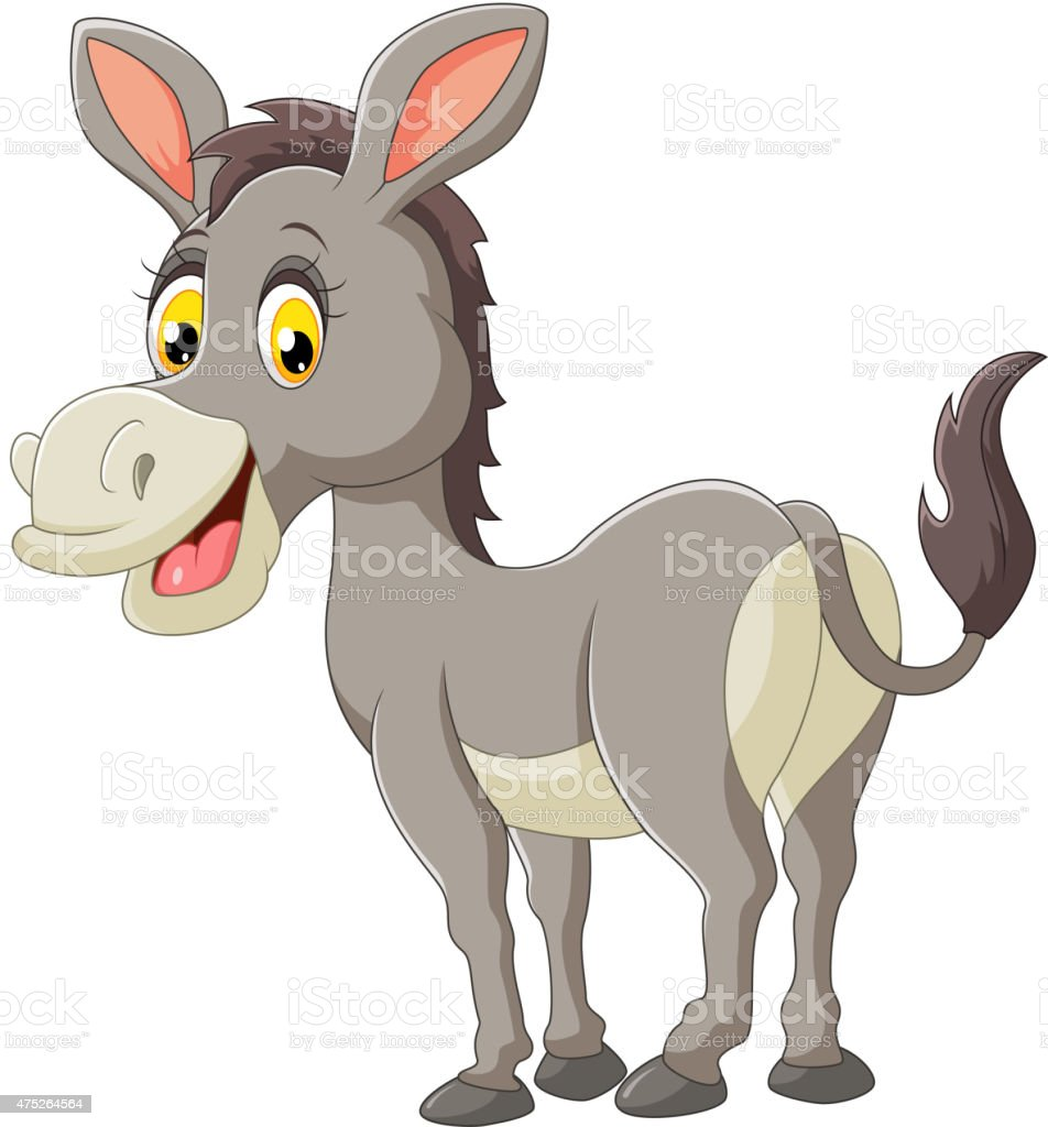 Cartoon donkey happy vector art illustration