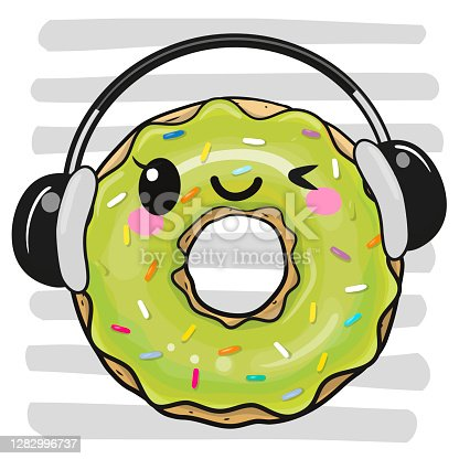 istock Cartoon Donut with headphones on a striped background 1282996737