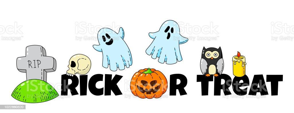 Ilustración de Tarjeta De La Historieta Doodle Feliz Halloween Fondo ...