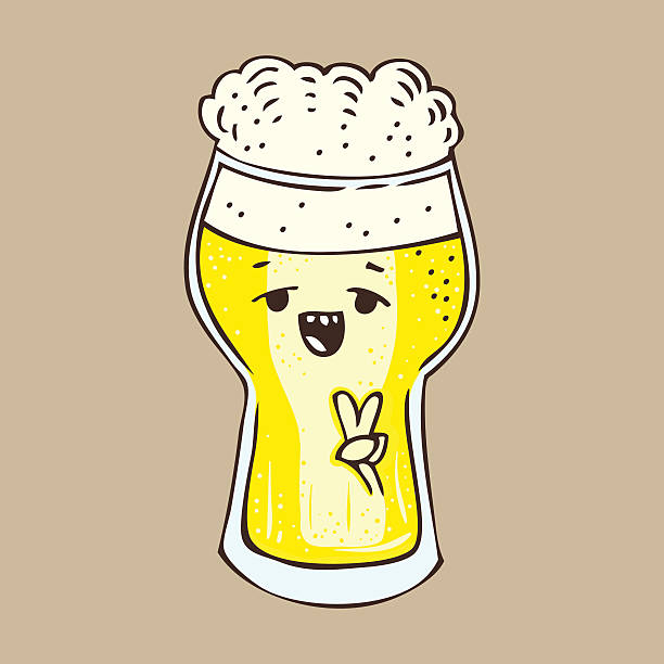 cartoon doodle hand drawn glass of beer vector art illustration